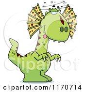 Cartoon Of A Drunk Or Dumb Dilophosaurus Dinosaur Royalty Free Vector Clipart by Cory Thoman