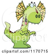 Cartoon Of A Hungry Dilophosaurus Dinosaur Royalty Free Vector Clipart