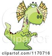 Cartoon Of A Sly Dilophosaurus Dinosaur Royalty Free Vector Clipart by Cory Thoman