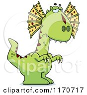 Cartoon Of A Depressed Dilophosaurus Dinosaur Royalty Free Vector Clipart by Cory Thoman