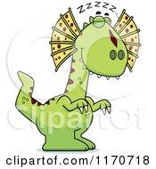 Cartoon Of A Sleeping Dilophosaurus Dinosaur Royalty Free Vector Clipart by Cory Thoman