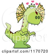 Cartoon Of A Loving Dilophosaurus Dinosaur Royalty Free Vector Clipart by Cory Thoman