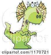 Cartoon Of A Frightened Dilophosaurus Dinosaur Royalty Free Vector Clipart by Cory Thoman