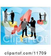 Groups Of Businessmen Shaking Hands On Deals On Pie Charts Increasing Revenue For The Company Clipart Illustration