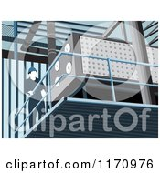 Clipart Of A Factory Worker On A Platform Royalty Free Vector Illustration