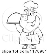 Cartoon Of An Outlined Chef Pig Standing With A Cloche Platter Royalty Free Vector Clipart by Hit Toon