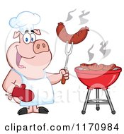 Cartoon Of A Chef Pig Holding A Sausage On A Fork By A Barbeque Royalty Free Vector Clipart