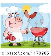 Cartoon Of A Chef Pig Holding A Sausage On A Fork By A Grill Royalty Free Vector Clipart by Hit Toon