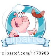 Cartoon Of A Chef Pig Holding A Sausage On A Bbq Fork Over A Blue Banner Royalty Free Vector Clipart by Hit Toon