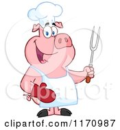 Cartoon Of A Bbq Chef Pig Holding A Fork Royalty Free Vector Clipart by Hit Toon