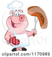 Cartoon Of A Chef Pig Holding A Cooked Steak On A Bbq Fork Royalty Free Vector Clipart by Hit Toon