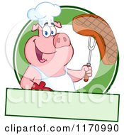 Cartoon Of A Chef Pig Holding A Beef Steak On A Bbq Fork Over A Green Circle And Banner Royalty Free Vector Clipart by Hit Toon