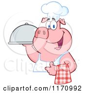 Cartoon Of A Chef Pig With A Cloche Platter Royalty Free Vector Clipart by Hit Toon