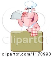 Cartoon Of A Chef Pig With A Cloche Platter Over A Sign Royalty Free Vector Clipart by Hit Toon