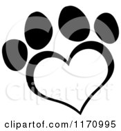 Cartoon Of A Black And White Heart Shaped Paw Print Royalty Free Vector Clipart