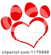 Cartoon Of A Red Heart Shaped Paw Print Royalty Free Vector Clipart