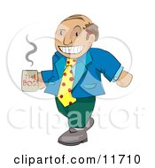 Balding Boss Man In Mismatched Clothing Carrying A Cup Of Coffee
