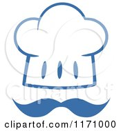 Cartoon Of A Blue And White Chef Hat And Mustache Royalty Free Vector Clipart by Hit Toon
