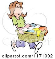 Cartoon Of A Woman Carrying A Laundry Basket Royalty Free Vector Clipart