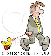 Cartoon Of A Businessman Pulling A Duck Toy Royalty Free Vector Clipart by Johnny Sajem