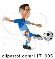 Clipart Of A 3d Italian Soccer Player In Action 3 Royalty Free CGI Illustration