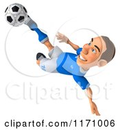 Clipart Of A 3d Italian Soccer Player In Action 4 Royalty Free CGI Illustration