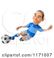 Clipart Of A 3d Italian Soccer Player In Action 6 Royalty Free CGI Illustration