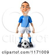 Clipart Of A 3d Italian Soccer Player Standing Over The Ball Royalty Free CGI Illustration