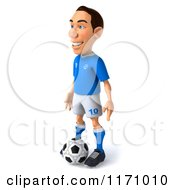 Clipart Of A 3d Italian Soccer Player Standing Over The Ball 2 Royalty Free CGI Illustration