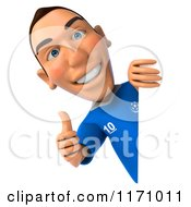 Clipart Of A 3d Italian Soccer Player Holding A Thumb Up By A Sign Royalty Free CGI Illustration