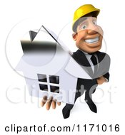 Clipart Of A 3d Strong Builder Man Holding A House 3 Royalty Free CGI Illustration