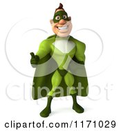 Clipart Of A 3d Thumb Up Super Hero Man In A Green Costume Royalty Free CGI Illustration