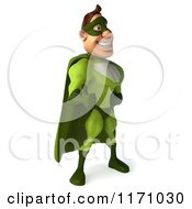 Clipart Of A 3d Thumb Up Super Hero Man In A Green Costume 2 Royalty Free CGI Illustration