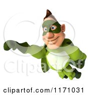 Clipart Of A 3d Flying Super Hero Man In A Green Costume Royalty Free CGI Illustration