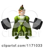 Clipart Of A 3d Super Hero Man In A Green Costume Lifting A Barbell Royalty Free CGI Illustration