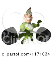 Clipart Of A 3d Super Hero Man In A Green Costume Lifting A Barbell 2 Royalty Free CGI Illustration