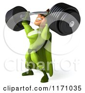 Clipart Of A 3d Super Hero Man In A Green Costume Lifting A Barbell 3 Royalty Free CGI Illustration