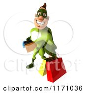 Clipart Of A 3d Super Hero Man In A Green Costume Carrying Shopping Bags Royalty Free CGI Illustration