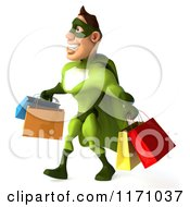 Clipart Of A 3d Super Hero Man In A Green Costume Carrying Shopping Bags 2 Royalty Free CGI Illustration