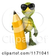 Clipart Of A 3d Tortoise Wearing Sunglasses And Standing With A Pencil Royalty Free CGI Illustration