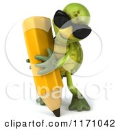 Clipart Of A 3d Tortoise Wearing Sunglasses And Writing With A Pencil Royalty Free CGI Illustration
