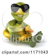 Clipart Of A 3d Tortoise Wearing Sunglasses And Sitting With An Inner Tube Royalty Free CGI Illustration