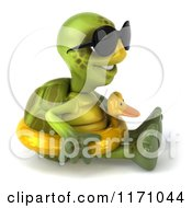 Clipart Of A 3d Tortoise Wearing Sunglasses And Sitting With An Inner Tube 2 Royalty Free CGI Illustration