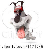 Clipart Of A 3d Leaping Jack Russell Terrier Dog Wearing A Hat Royalty Free CGI Illustration