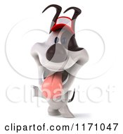 Clipart Of A 3d Standing Jack Russell Terrier Dog Wearing A Hat Royalty Free CGI Illustration