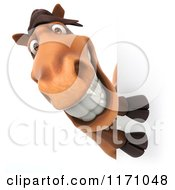 Clipart Of A 3d Happy Horse Mascot Looking Around A Sign Royalty Free CGI Illustration