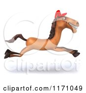 Clipart Of A 3d Running Happy Horse Mascot Wearing A Hat Royalty Free CGI Illustration