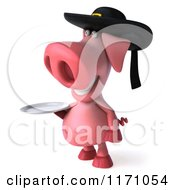 Clipart Of A 3d Pig Wearing A Breton Hat And Holding A Plate Royalty Free CGI Illustration