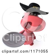 Clipart Of A 3d Pig Wearing A Breton Hat And Holding A Plate 2 Royalty Free CGI Illustration