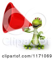 Clipart Of A 3d Green Gecko Announcing With A Megaphone Royalty Free CGI Illustration